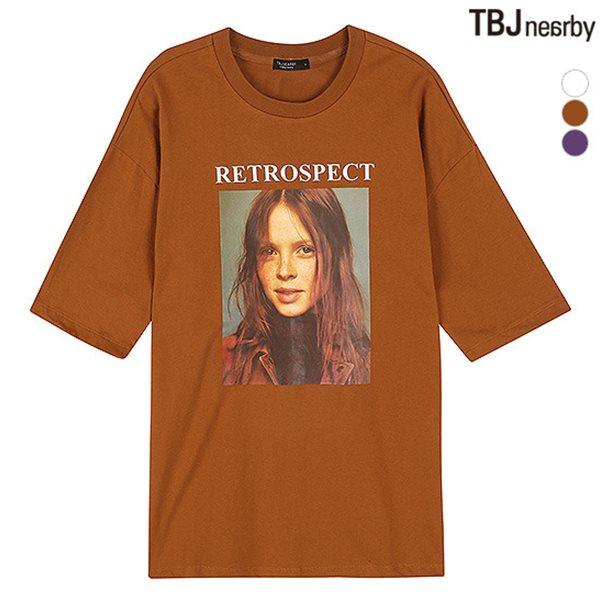 [TBJ]여성 싱글 전사프린트 5부소매 티셔츠(T183TS601P)