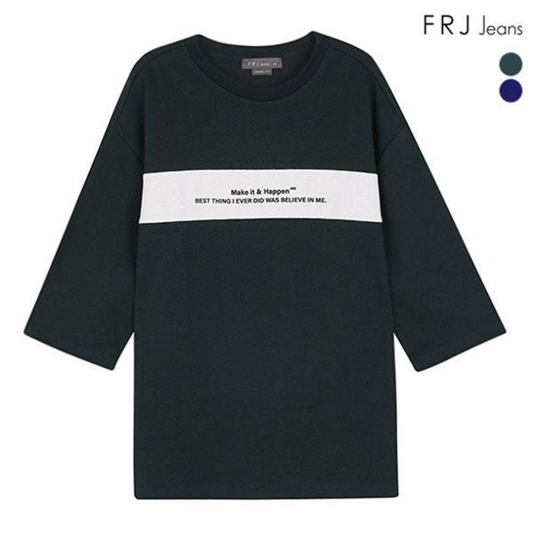 [FRJ]남성 오버핏가슴절개7부소매티셔츠 (F83M-TS037B)