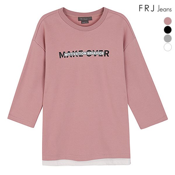 [FRJ]유니 오버핏레터링7부소매티셔츠 (F83U-TS017B)