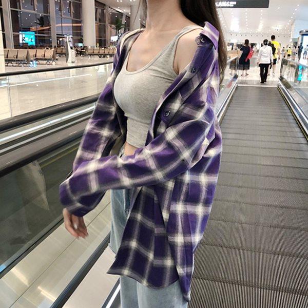 [드레스날다] 멜로무비 타탄체크 오버핏 셔츠(mnb1014)