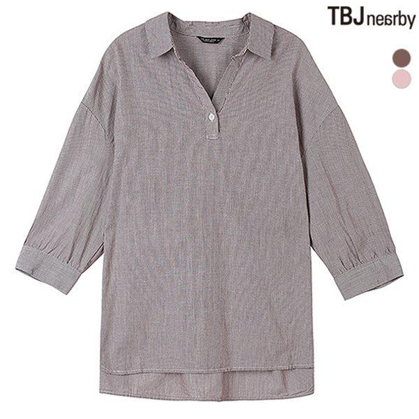 [TBJ]여성 7부 헨리넥 가을컬러 스트라이프 셔츠(T183SH510P)