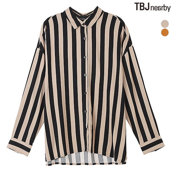 [TBJ]여성 온부 폴리 스트라이프 셔츠(T183SH620P)