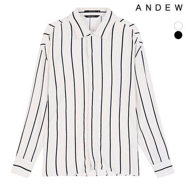 [ANDEW]남성 세미오버 기본카라 R 스트라이프 셔츠(O183SH390P)