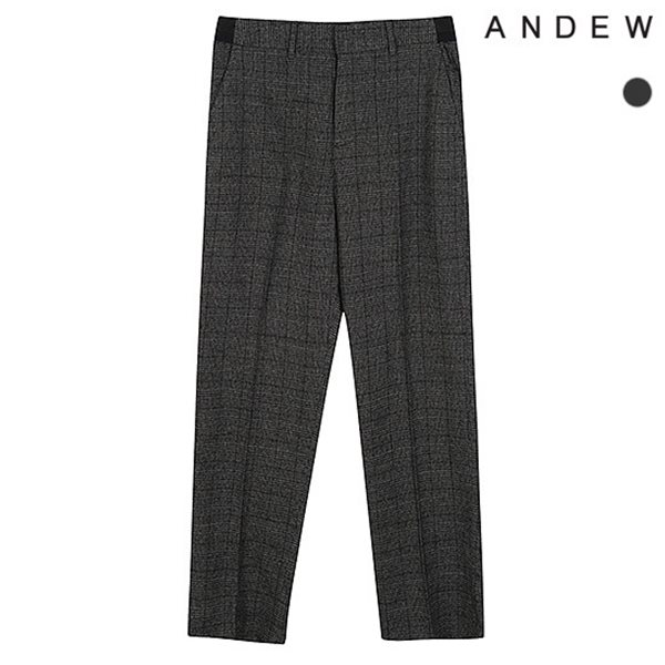 [ANDEW]남성 와이드 TR 체크 사이드밴딩 바지(O183PT330P)