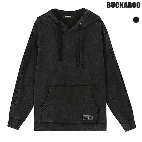 [BUCKAROO]유니 3단쭈리 스노우 소매 레터링 후드 풀오버(B183TS220P)