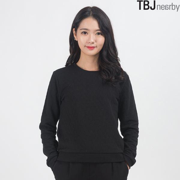 [TBJ]여성 라운드 숏기장 원단 퀄팅 맨투맨(T154TS700P)