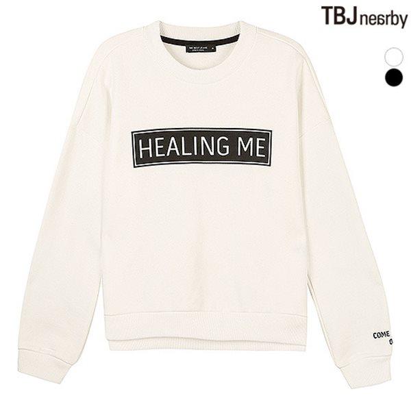 [TBJ]여성 숏기장 BK&WH 프린트 맨투맨 티셔츠(T154TS710P)