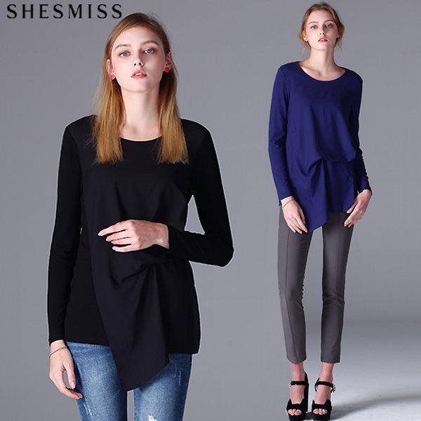 [쉬즈미스(SHESMISS)] 엠버 드레이프 쉬폰 오버레이 티셔츠