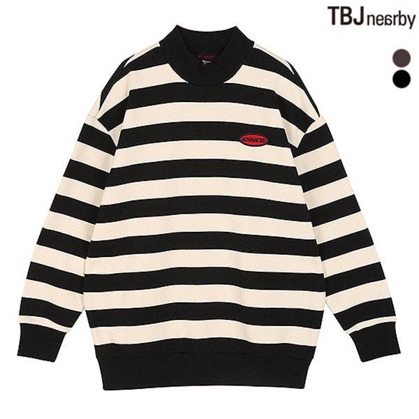 [TBJ]여성 루즈핏 기모쭈리 반터틀 스트라이프 티셔츠(T184TS740P)