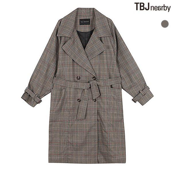 [TBJ]여성 롱기장 체크 트렌치코트(T183JP910P)
