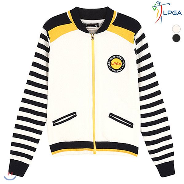 [LPGA]여성 소매 스트라이프 가디건 (L163KC501P)