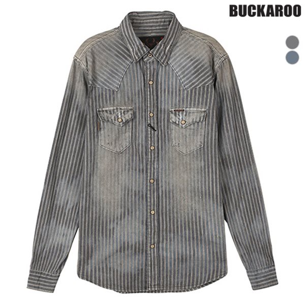 [BUCKAROO]남성 스트라이프 구제데님셔츠(B154DS380M)