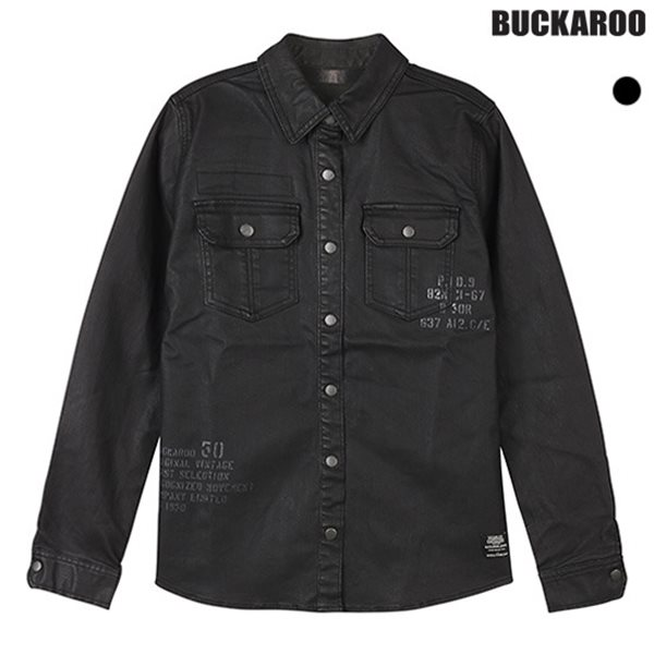 [BUCKAROO]유니 블랙 코팅 셔츠(B154DS180P)
