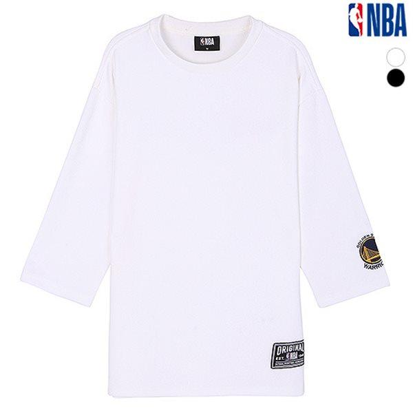 [NBA]GSW 소매자수 오버핏 7부기장 티셔츠(N183TS332P)