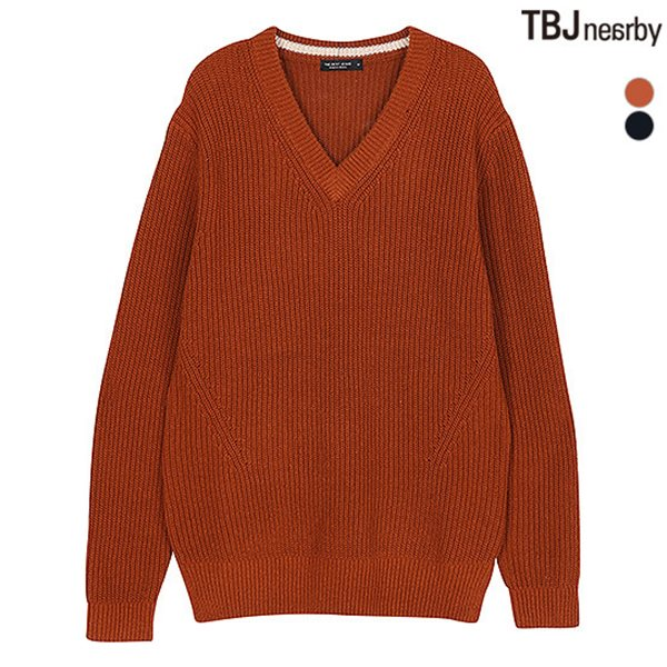 [TBJ]남성 V넥 하찌조직 니트 풀오버(T184KT120P)