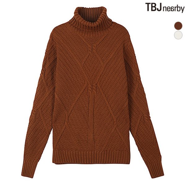 [TBJ]남성 터틀넥 케이블조직 니트 풀오버(T184KT410P)