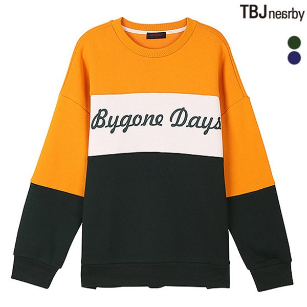 [TBJ]여성 AD 루즈핏 기모쭈리 절개배색 맨투맨 티셔츠(T184TS730P)