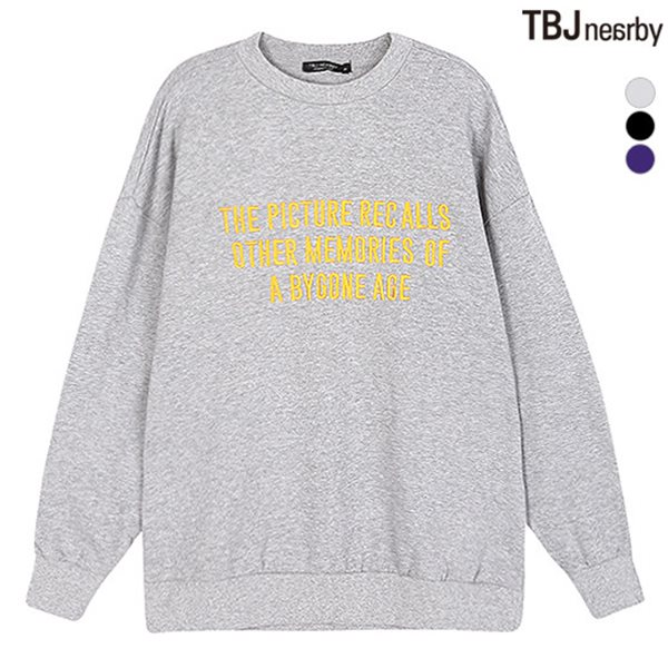 [TBJ]여성 루즈핏 기모쭈리 자수 맨투맨 티셔츠(T184TS700P)