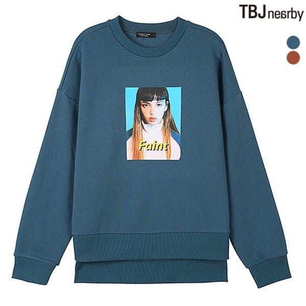 [TBJ]여성 루즈핏 기모쭈리 전사 맨투맨 티셔츠(T184TS710P)
