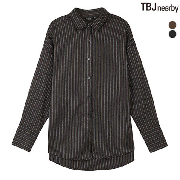 [TBJ]여성 제기장 브러쉬드 스트라이프 셔츠(T184SH500P)