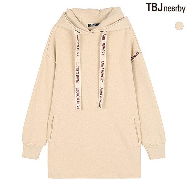 [TBJ]여성 중기장 기모쭈리 스트링레터링 후드 티셔츠(T184TS830P)