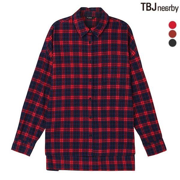 [TBJ]여성 중기장 브러쉬드 체크 셔츠(T184SH600P)