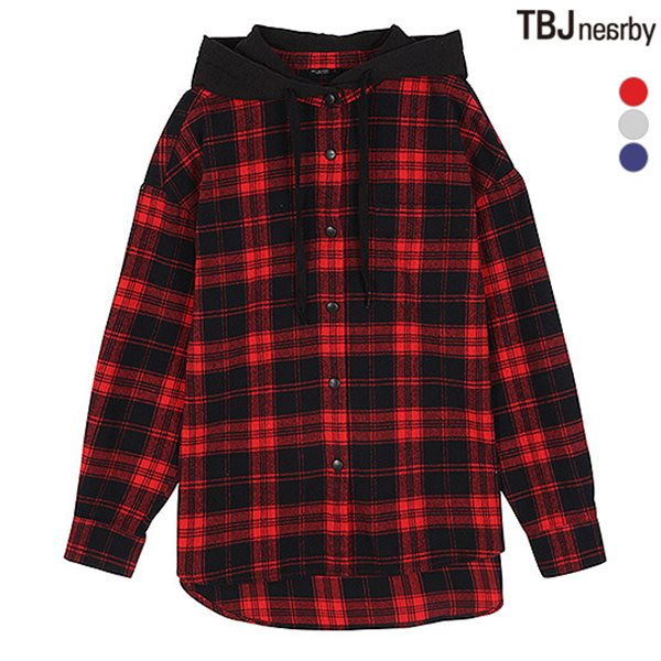 [TBJ]여성 후드 체크셔츠(T184SH700P)