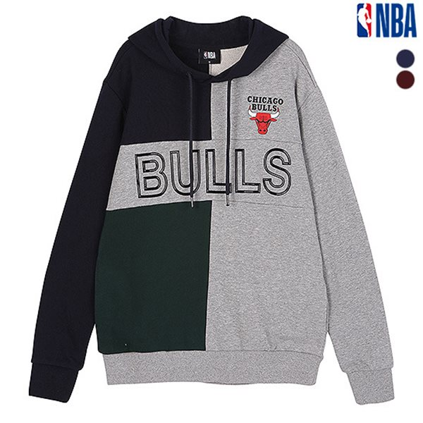 [NBA]CHI BULLS 블록 고주파 루즈핏 후드티셔츠(N183TH113P)
