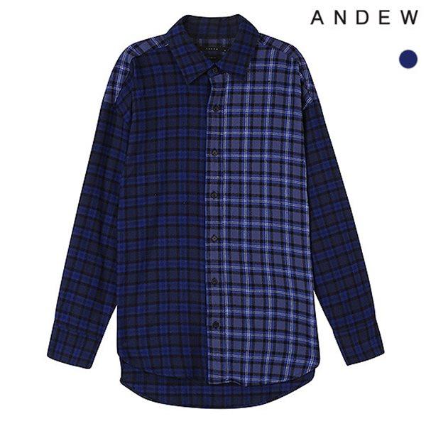 [ANDEW]남성 오버 기본카라 패턴믹스 체크 셔츠(O184SH180P)