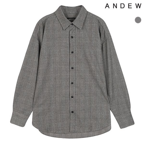 [ANDEW]남성 오버 기본카라 글렌체크 그레이 셔츠(O184SH220P)