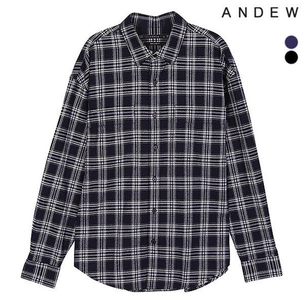 [ANDEW]남성 세미오버 기본카라 CR 체크 셔츠(O184SH150P)