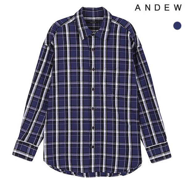 [ANDEW]남성 레귤러 기본카라 체크 셔츠(O184SH170P)