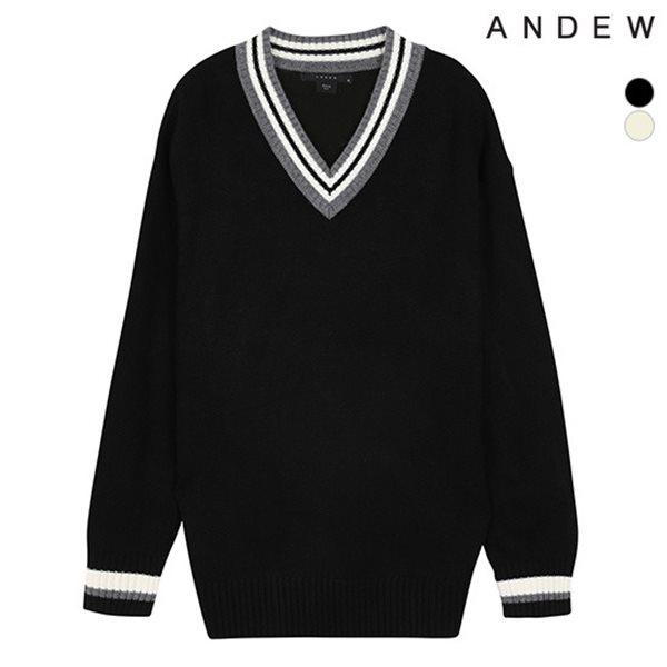 [ANDEW]남성 오버 V넥 배색 풀오버(O184KT240P)