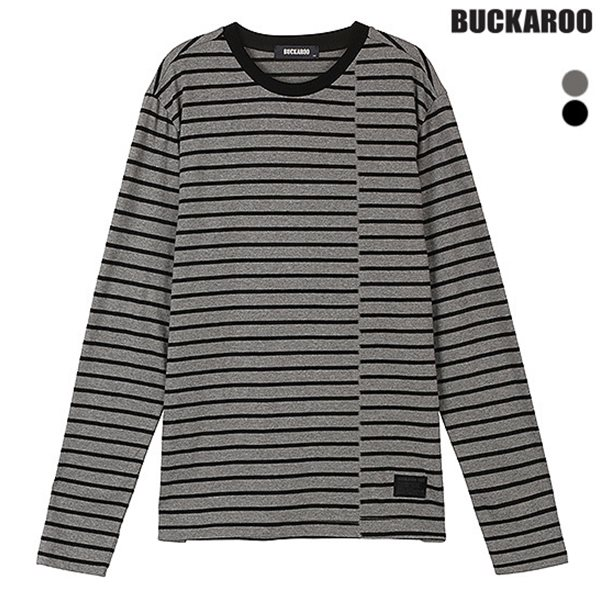 [BUCKAROO]남성 20수 스트라이프 R넥 티셔츠(B183TS410P)