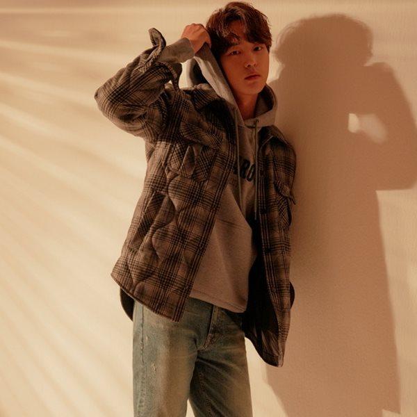 [BUCKAROO]남성 울블렌드 체크퀼팅 셔츠형 자켓(B184JP380P)