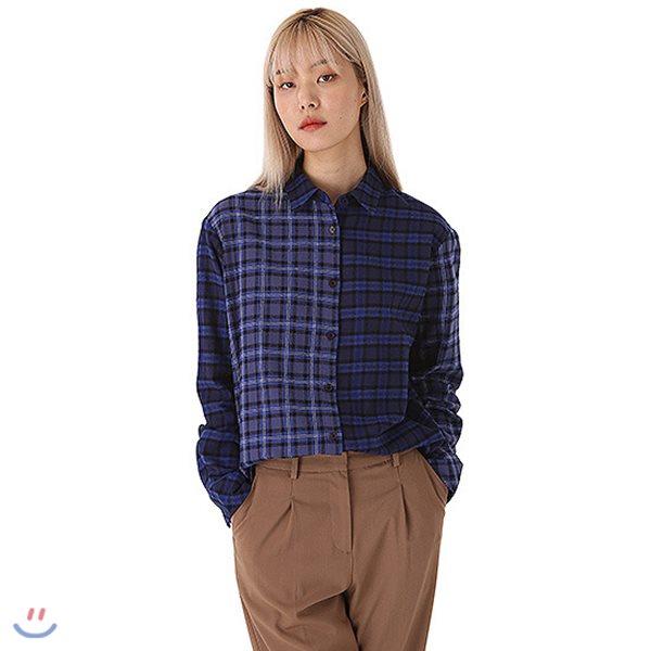 [ANDEW]여성 기본카라 믹스패턴 체크 셔츠 (O184SH610P)