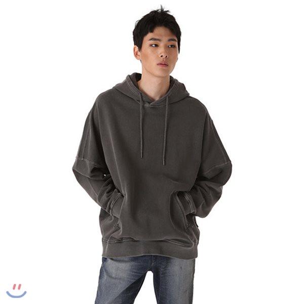 [BUCKAROO]유니 3단쭈리 루즈핏 가먼트다잉 절개 후드 풀오버(B183TS210P)