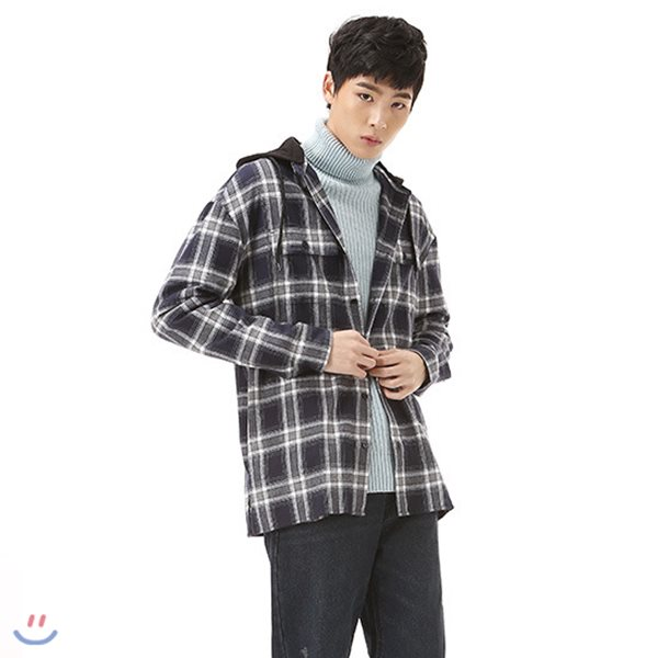 [ANDEW]남성 카라 체크 후드 탈부착 셔츠 (O184SH200P)