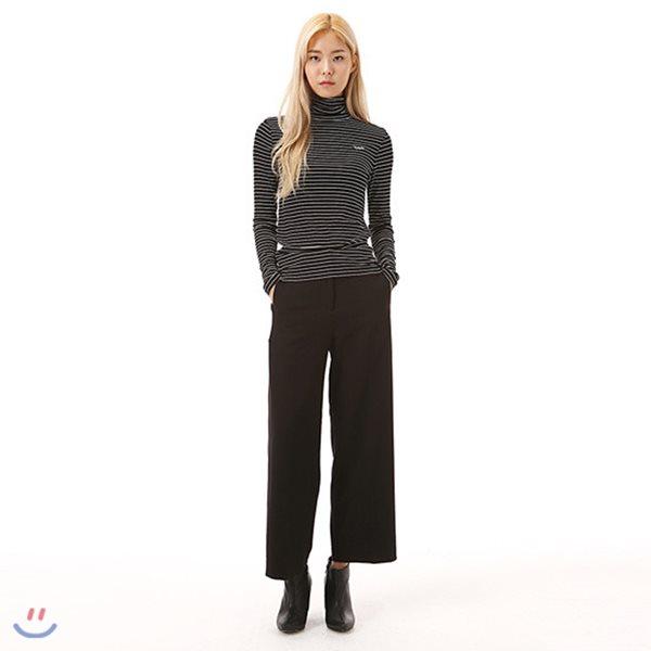 [ANDEW]여성 세미와이드 울혼방 블랙 뒷밴딩 바지(O184PT530P)