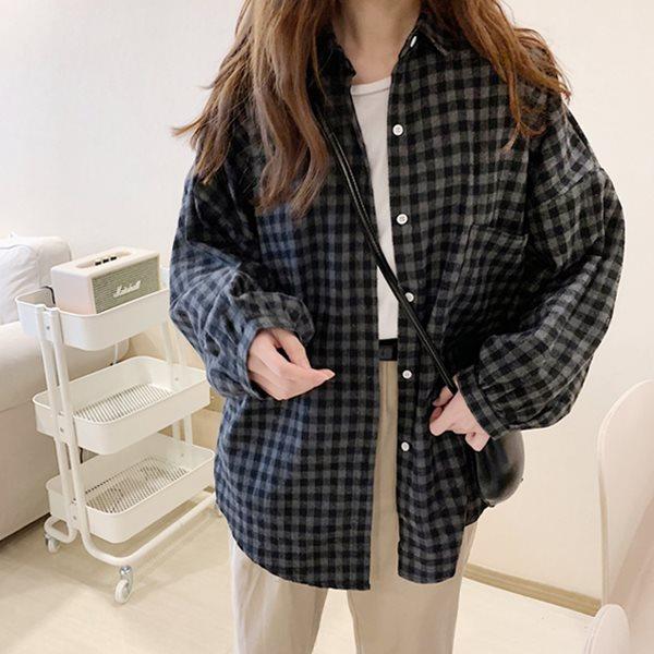 [드레스날다] 스물다섯 루즈핏 체크 롱 셔츠(mnb1036)