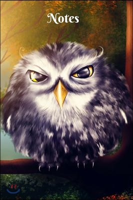 Notes: Colorful Night Owl Digital Art 6 X 9 Blank Lined Writing Notebook Composition Journal, 110 Pages - Great Gift Idea