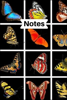 Notes: Colorful Spring Summer Butterfly 6 X 9 Blank Lined Writing Notebook Composition Journal, 110 Pages - Great Gift Idea