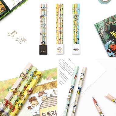 연필&연필 뚜껑 세트(도토리 마을의 1년/놓지마 과학/의외로 유쾌한 생물도감)