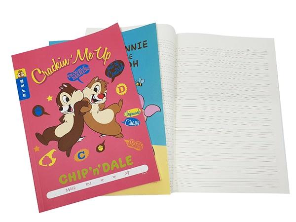 디즈니 캐릭터 푸우, 칩앤데일 초등 3-6 영어노트 (10개입)세트 랜덤발송