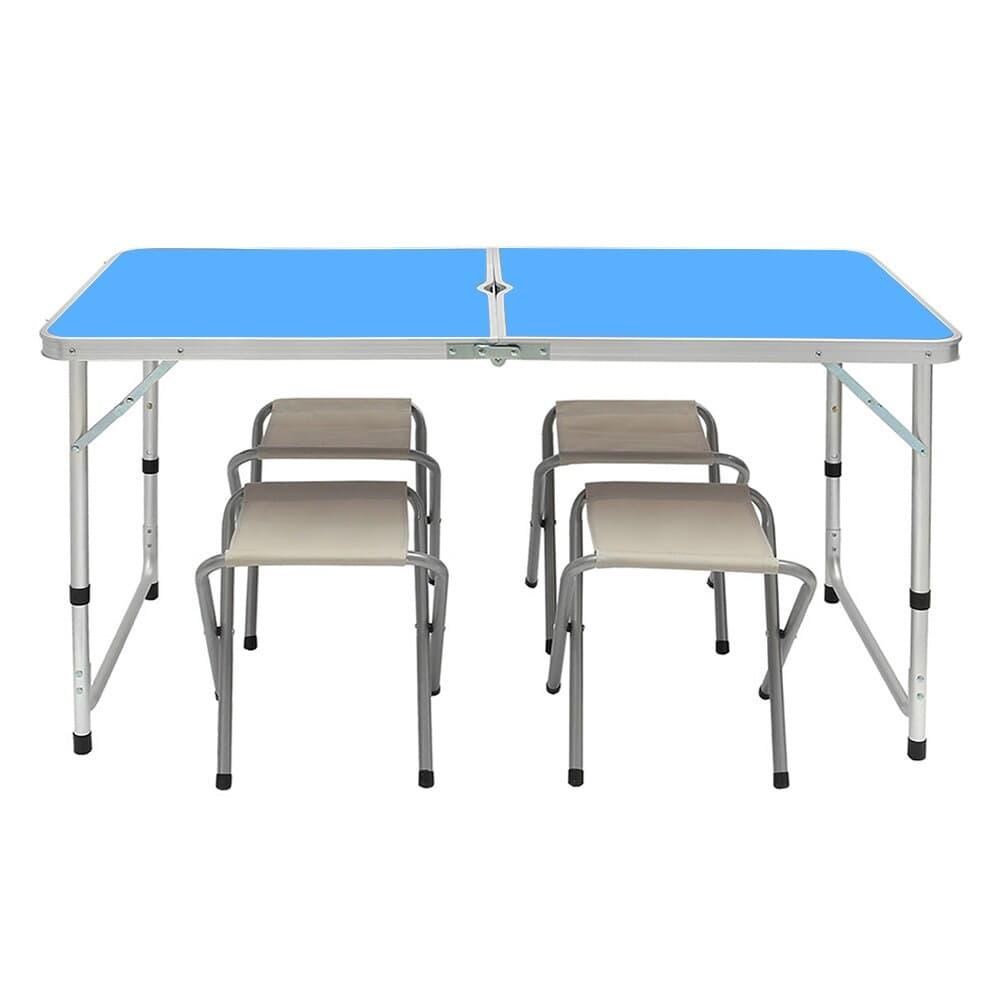 4인용 접이식 캠핑테이블 의자세트(블루)/ 야외테이블