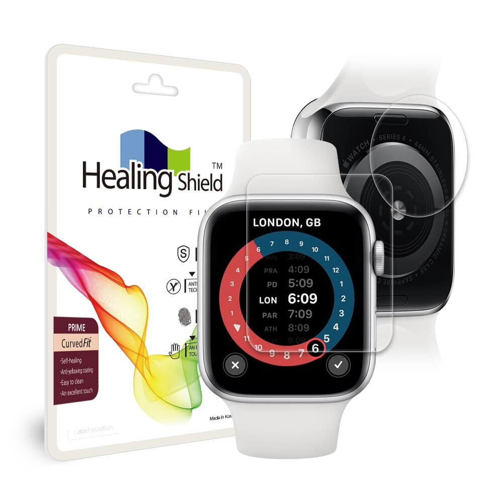 애플워치SE 40mm 프라임 고광택 액정보호필름 2매 심박센서 2매