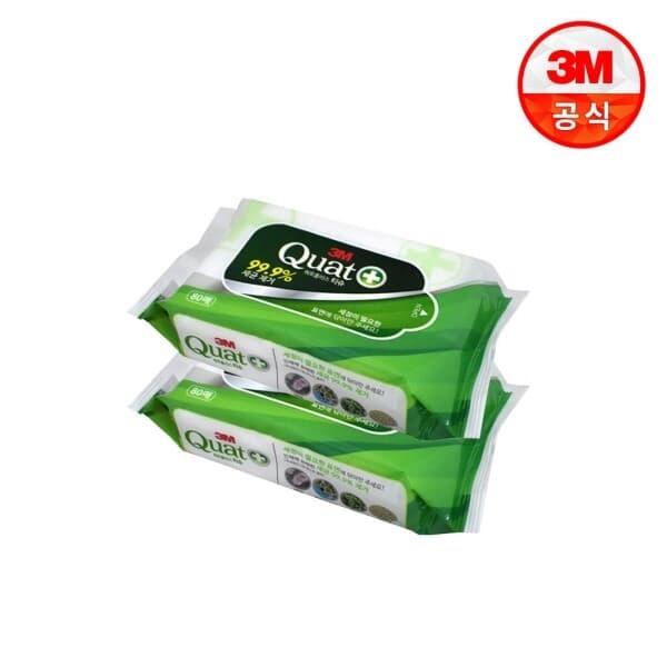 3M 쿼트플러스 살균티슈 80매 (공공기관/어린이집/급식실/다목적청소물티슈)