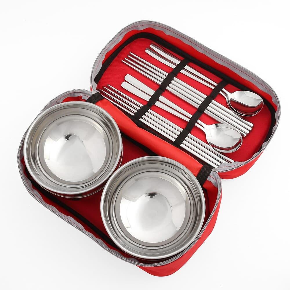 캠핑랜드 휴대용 수저 식기 4인세트 / 스텐 캠핑 그릇