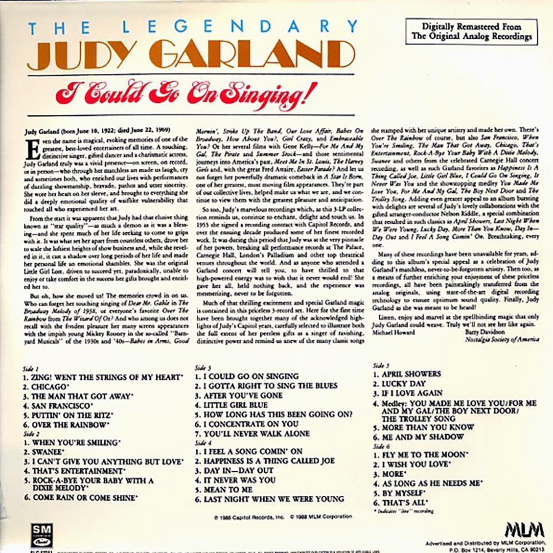 Judy Garland (주디 갈랜드) - The Legendary Judy Garland: I Could Go On Singing [3LP]