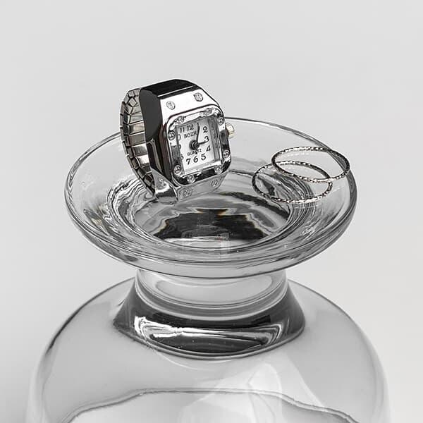 [free size] 유니크 시계 반지 손가락 시계 실버 반지